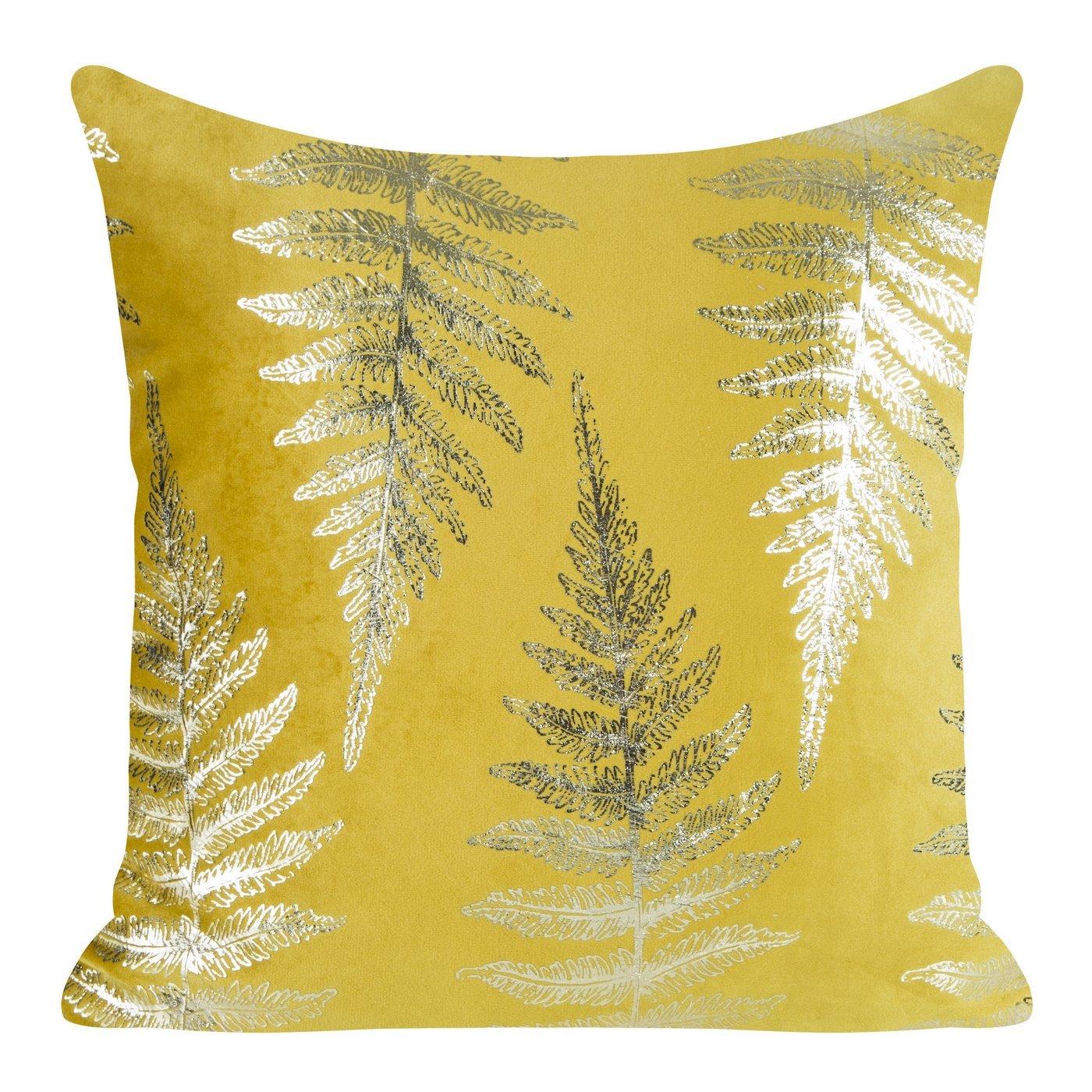 Ozdobna musztardowa poszewka z motywem złotych paproci 45x45 cm