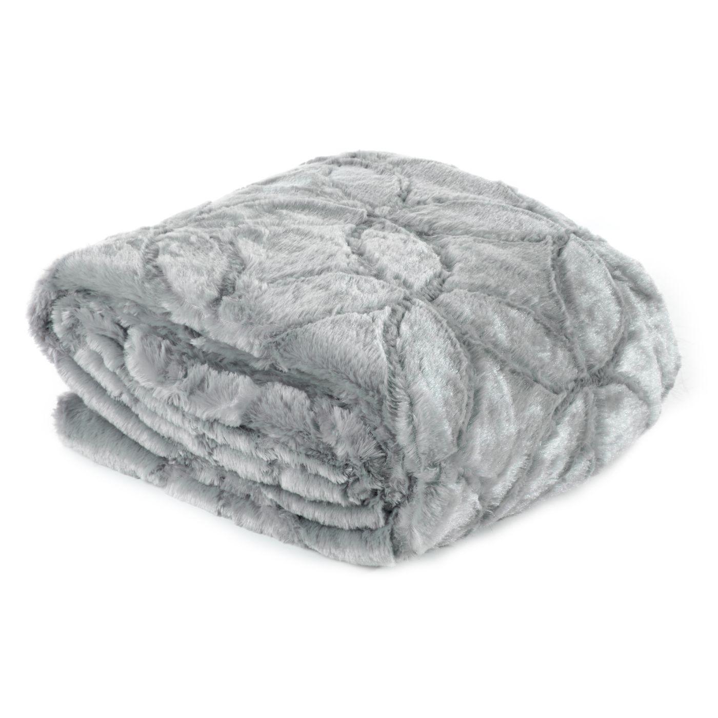 Narzuta futerko na łóżko srebrny szary 170x210 cm