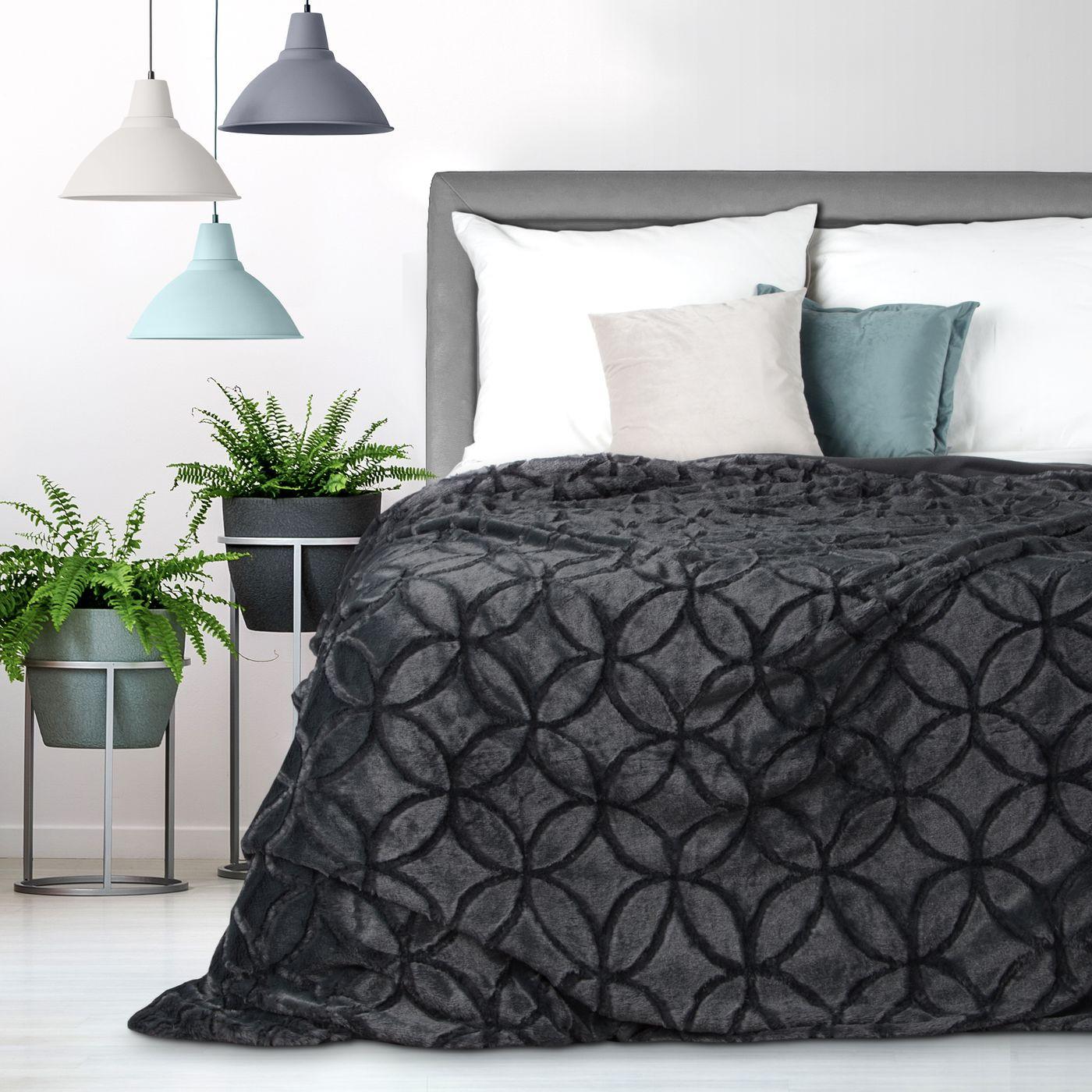 Narzuta futerko na łóżko stalowy szary 170x210 cm