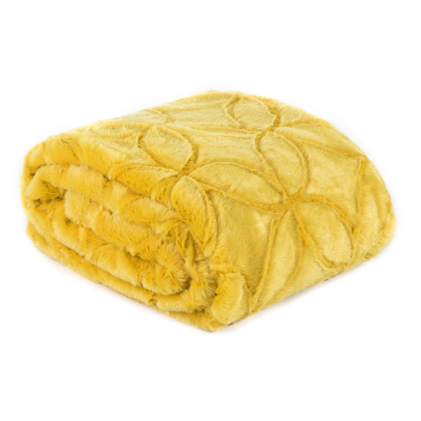 Narzuta futerko na łóżko musztardowa 170x210 cm