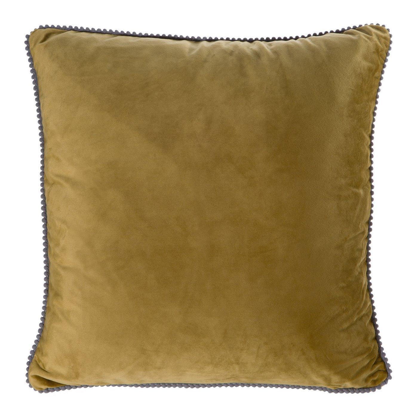 Musztardowa POSZEWKA Z LAMÓWKĄ kontrastową velvet 45x45 cm