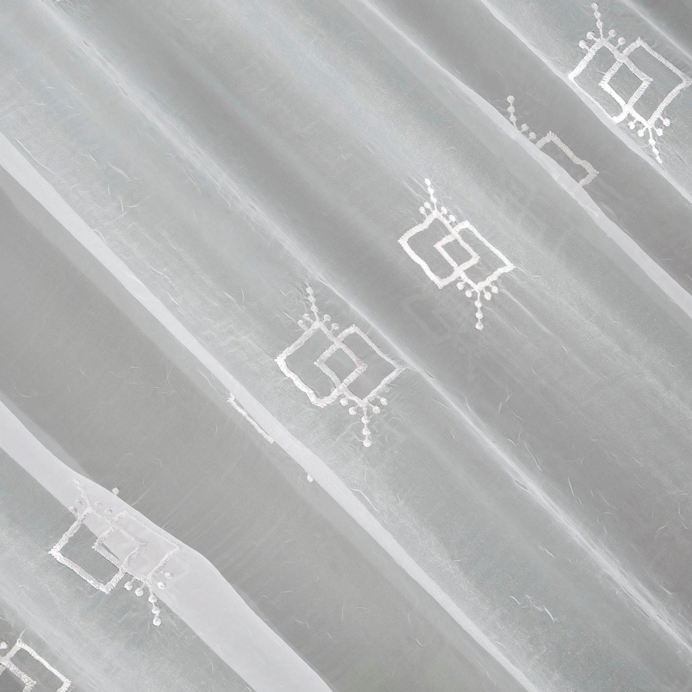 Firana haftowana z satynową listwą biała tunel 400x145cm