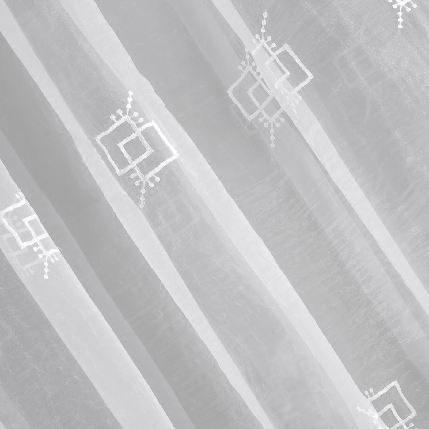 Firana haftowana z satynową listwą kremowa tunel 400x145cm