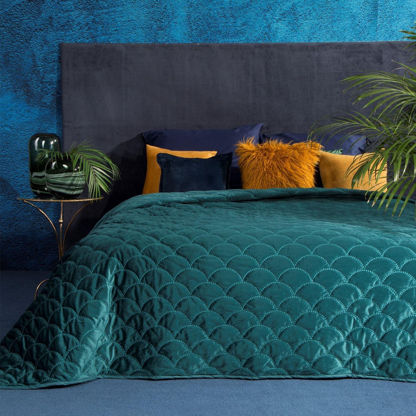 Ekskluzywna narzuta do sypialni pikowana - mój wybór Eva Minge - turkusowa 220x240 cm