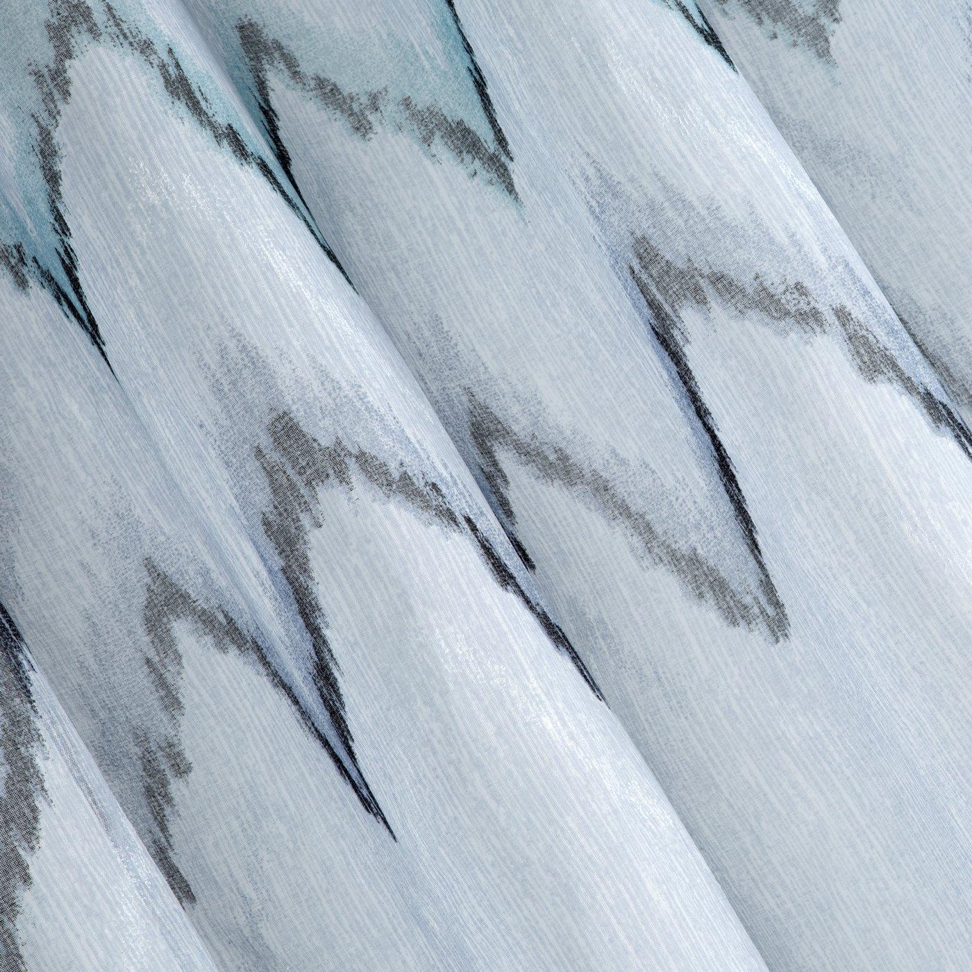 Srebrna zasłona z etaminy wzór w zygzak 140x250 na przelotkach