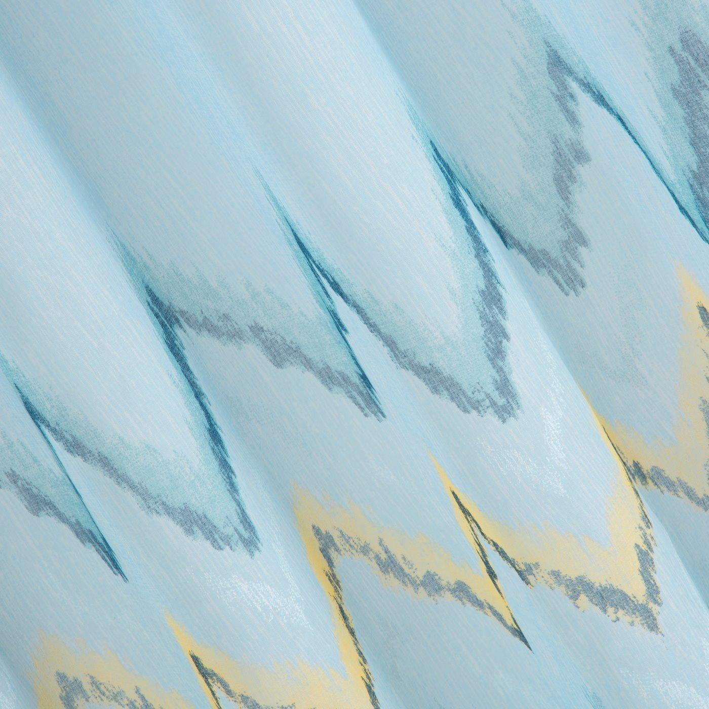 Niebieska zasłona z etaminy wzór w zygzak 140x250 na przelotkach