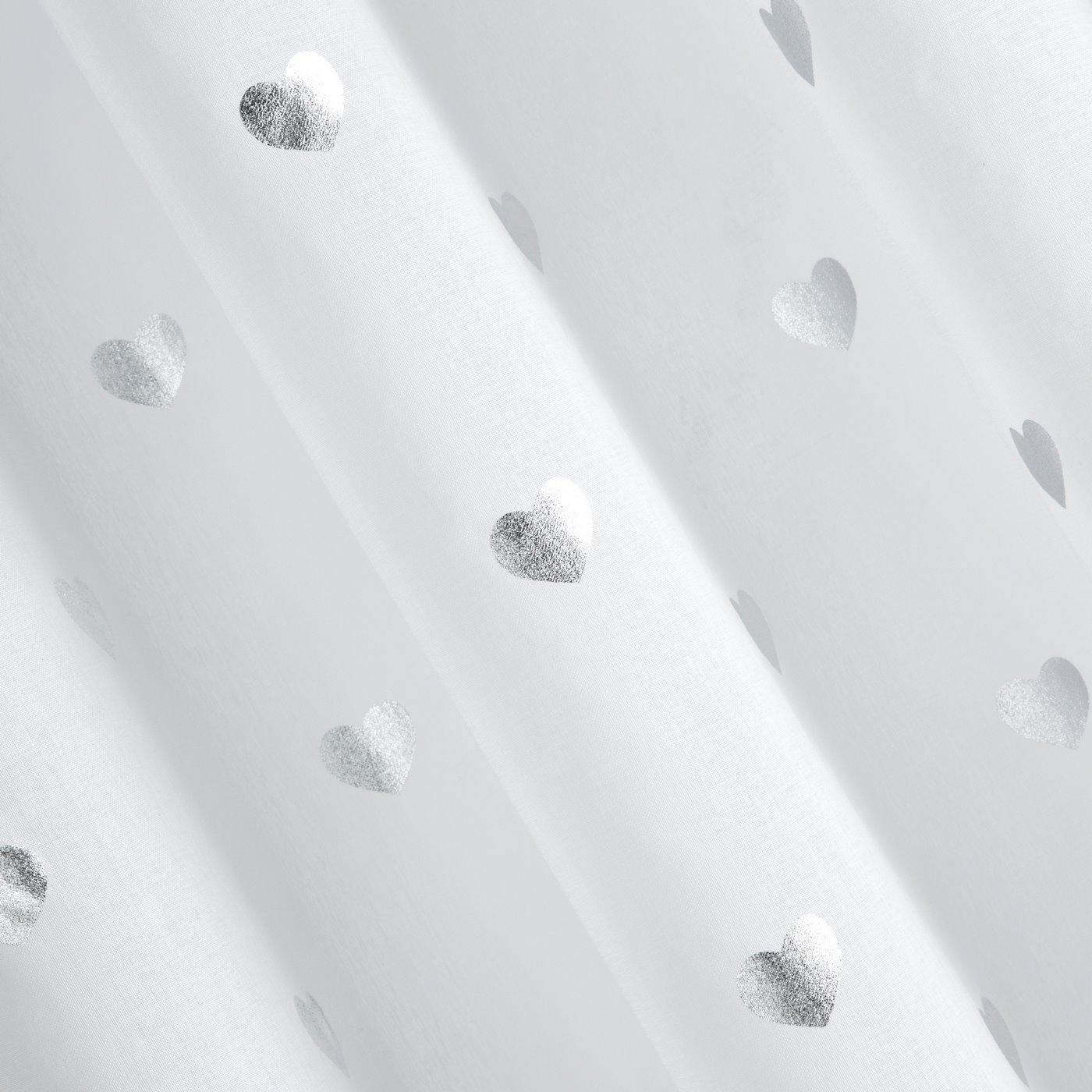 Biała firana ze srebrnymi sercami na przelotkach 140x250 cm