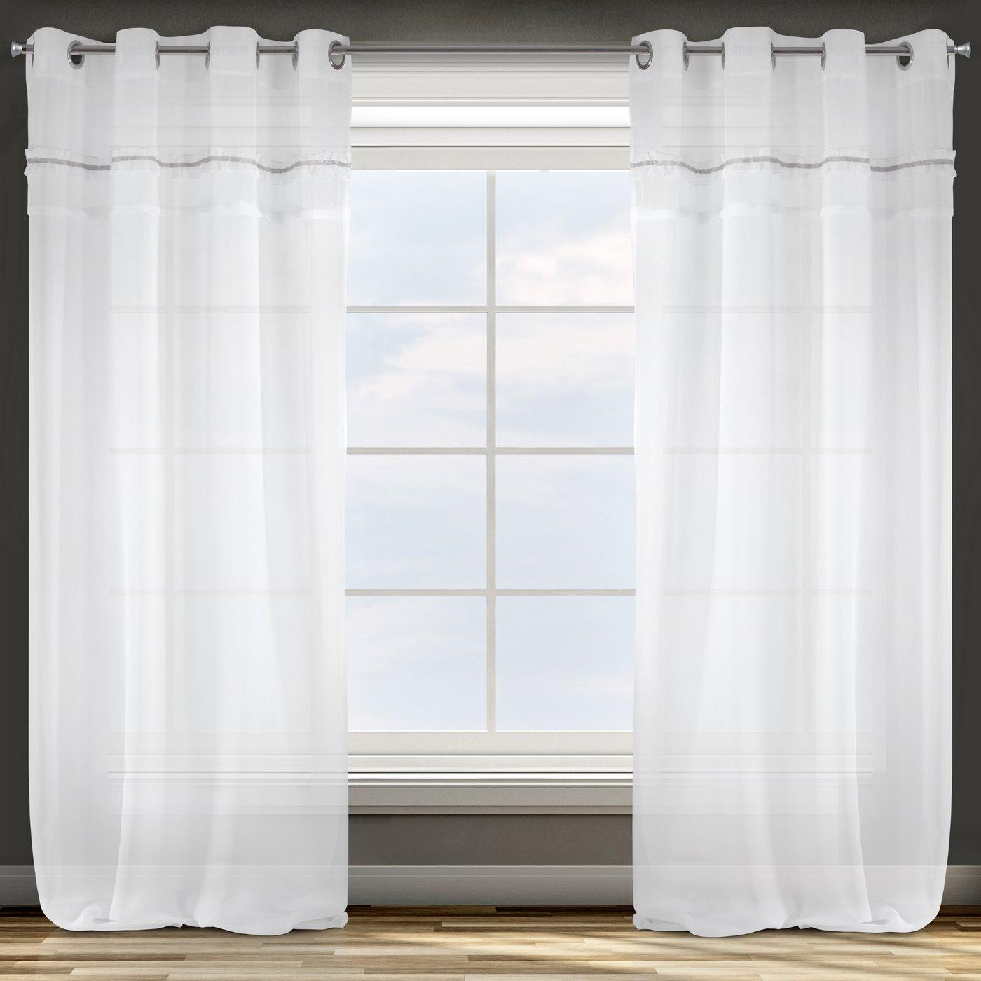 Zasłona biała z tradycyjnymi akcentami przelotki 140x250 cm