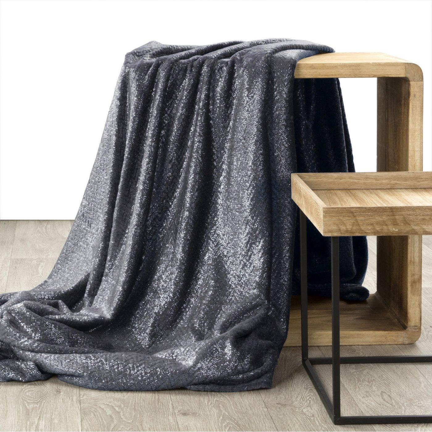 BETH STALOWY KOC Z MIKROFLANO TŁOCZONY W JODEŁKĘ 70x160 cm DESIGN91