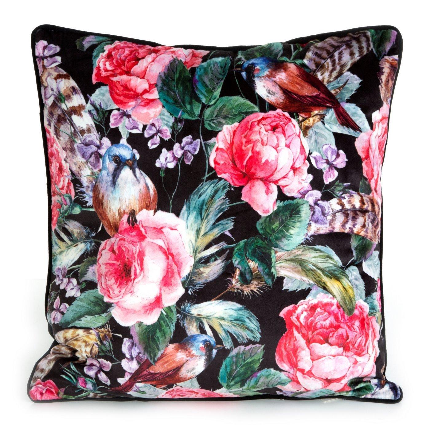 WELWETOWA POSZEWKA w kwiaty RÓŻE czarna różowa 45x45 cm