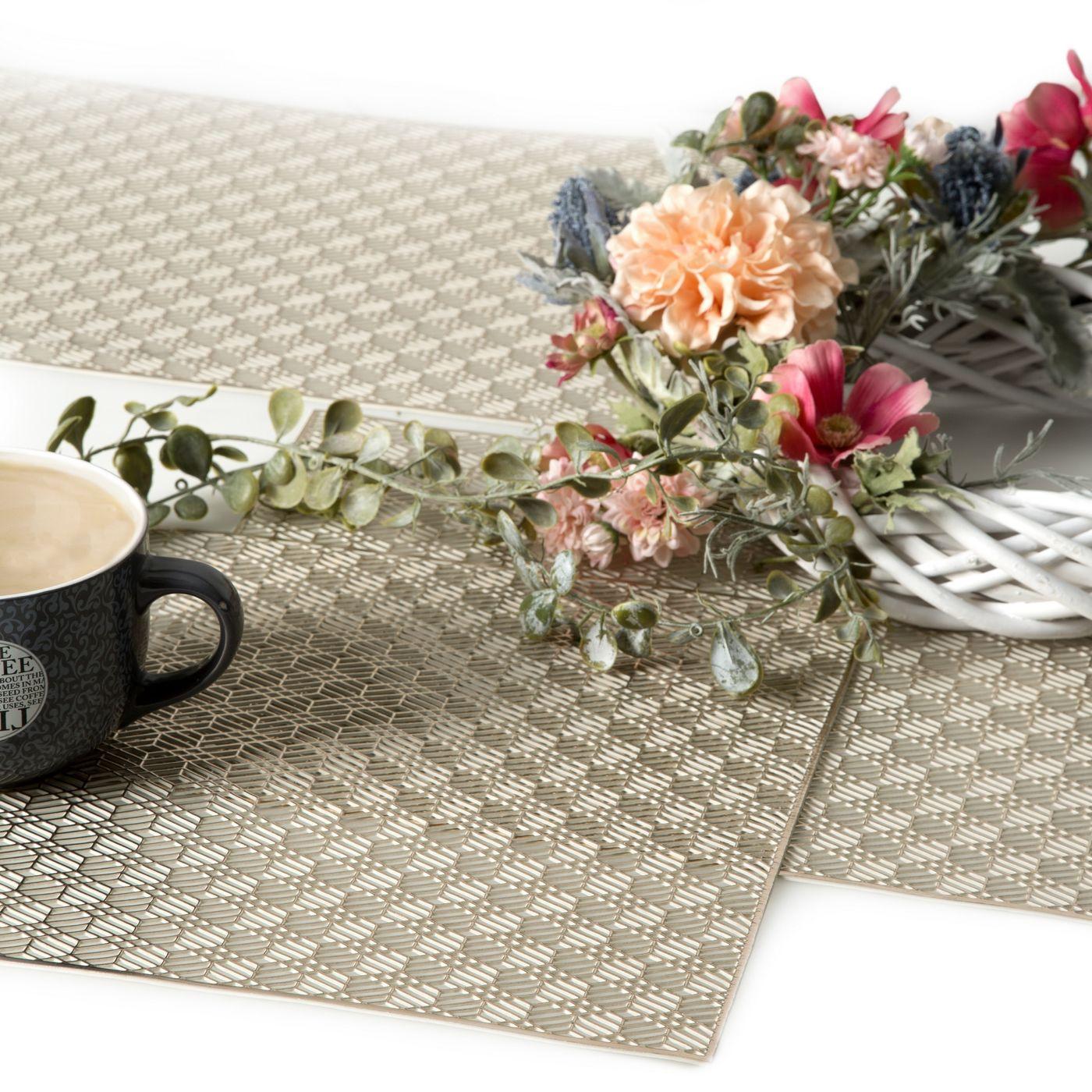 Ażurowa podkładka stołowa szampańska wzór geometryczny 45x30 cm