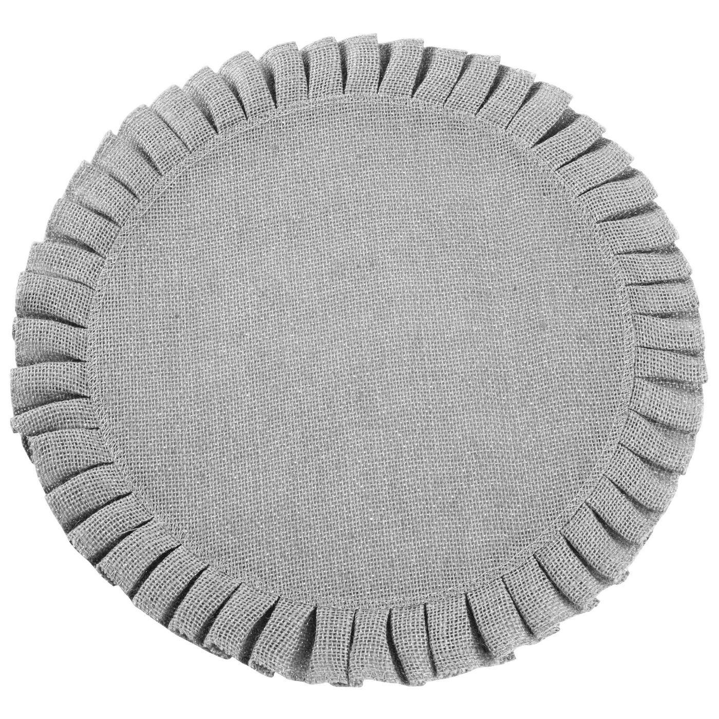Okrągła podkładka stołowa z falbaną srebrny 38 cm