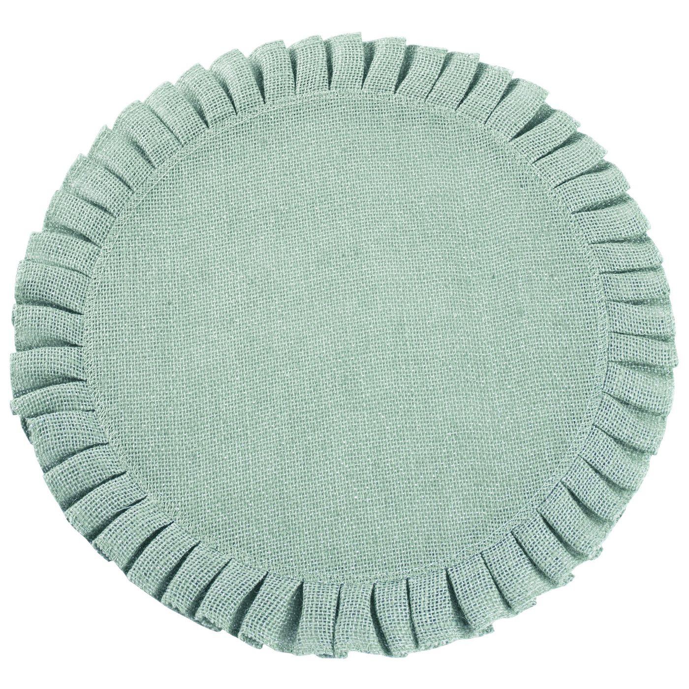 Okrągła podkładka stołowa z falbaną miętowa 38 cm