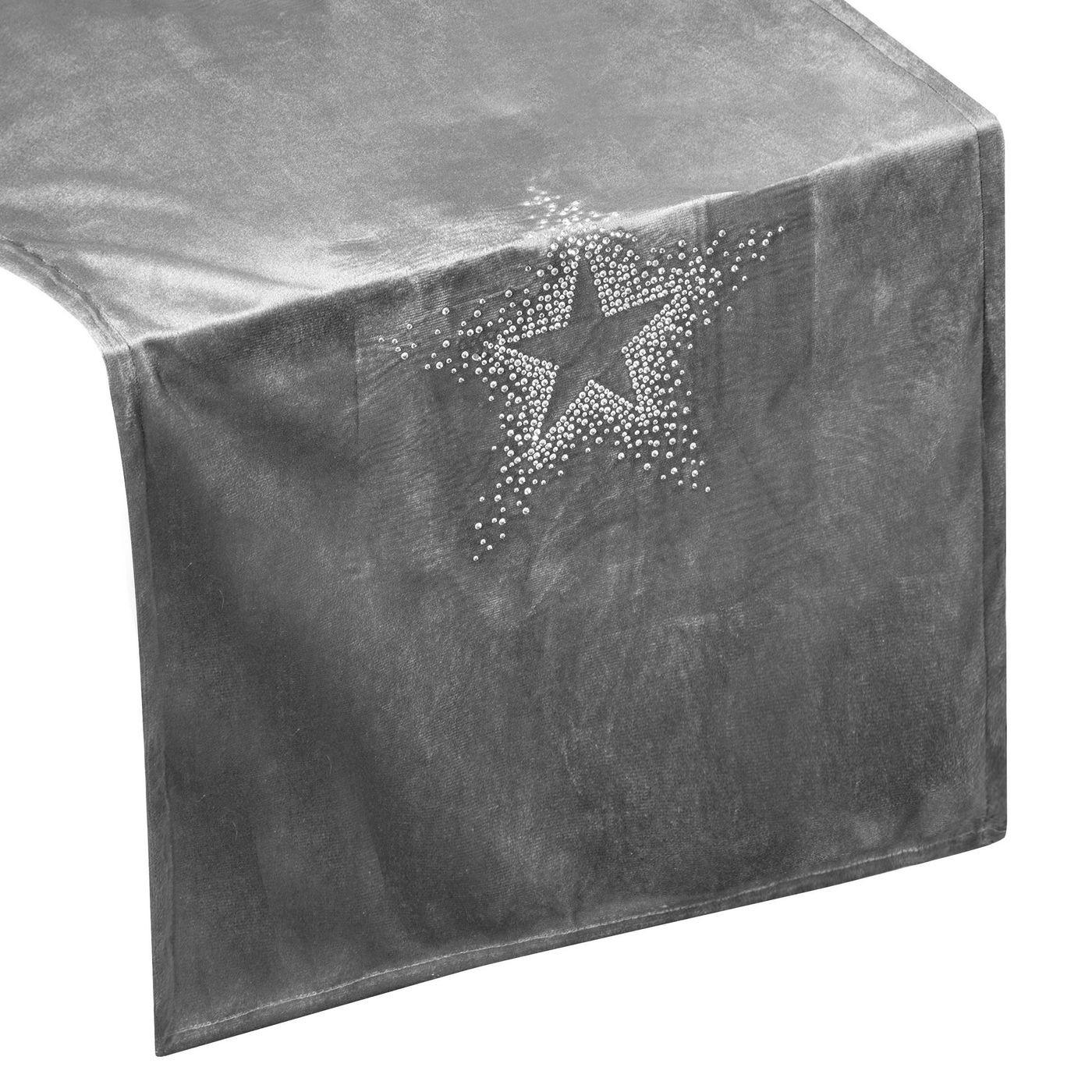 Srebrny bieżnik z cyrkoniami welwetowy 40x140 cm