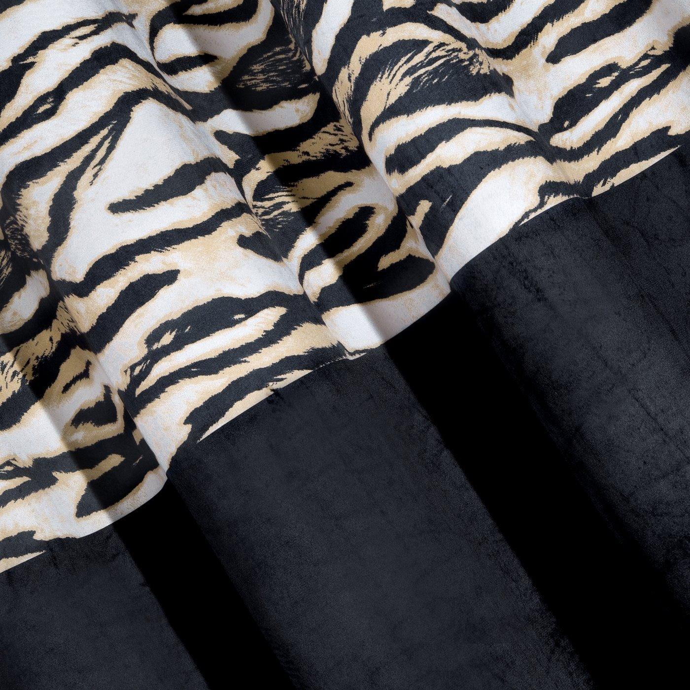 Czarne ZASŁONY WELWETOWE z modnym motywem zwierzęcym -Mój wybór EVA MINGE - przelotki