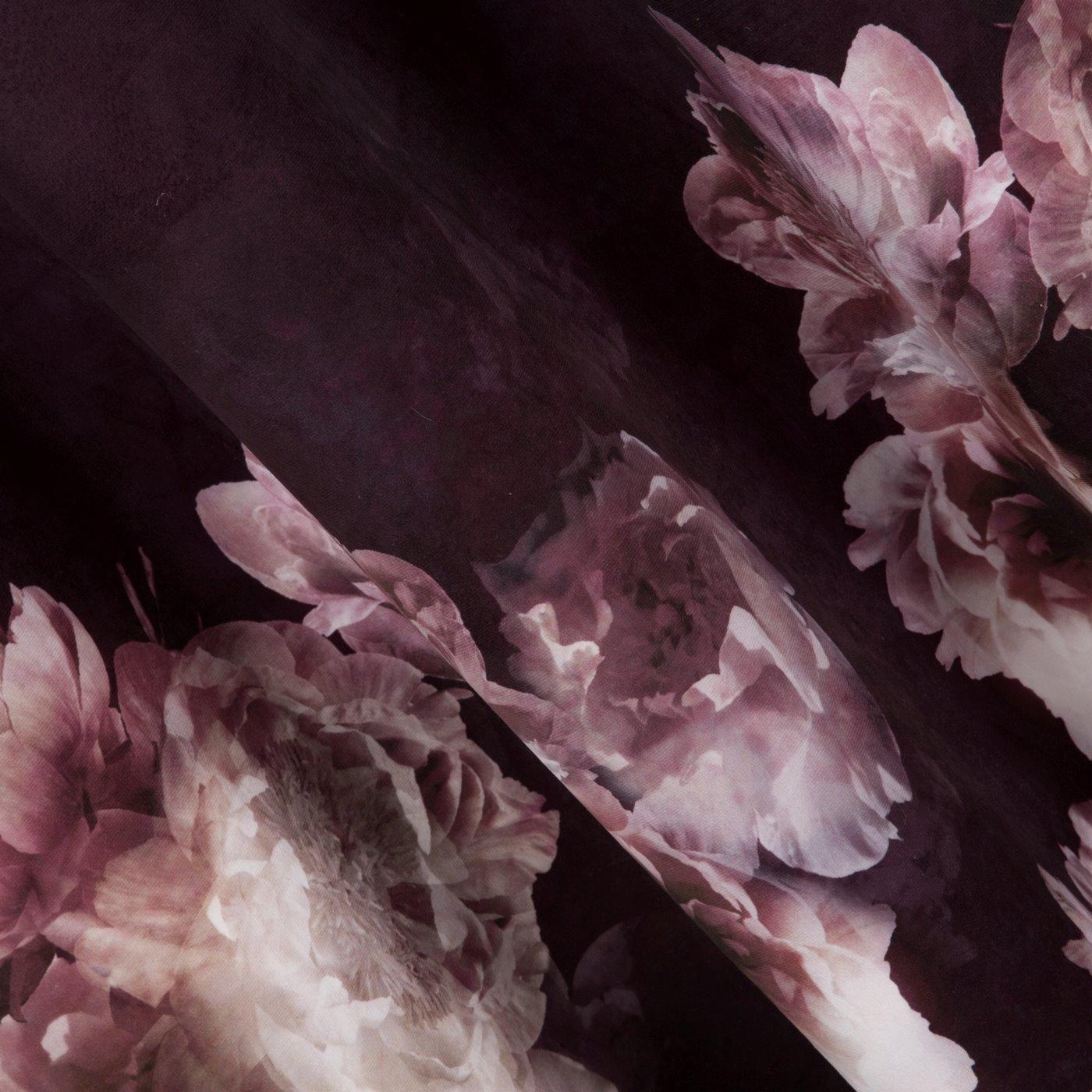 Bordowa zasłona welwetowa z motywem kwiatów 140x250 przelotki