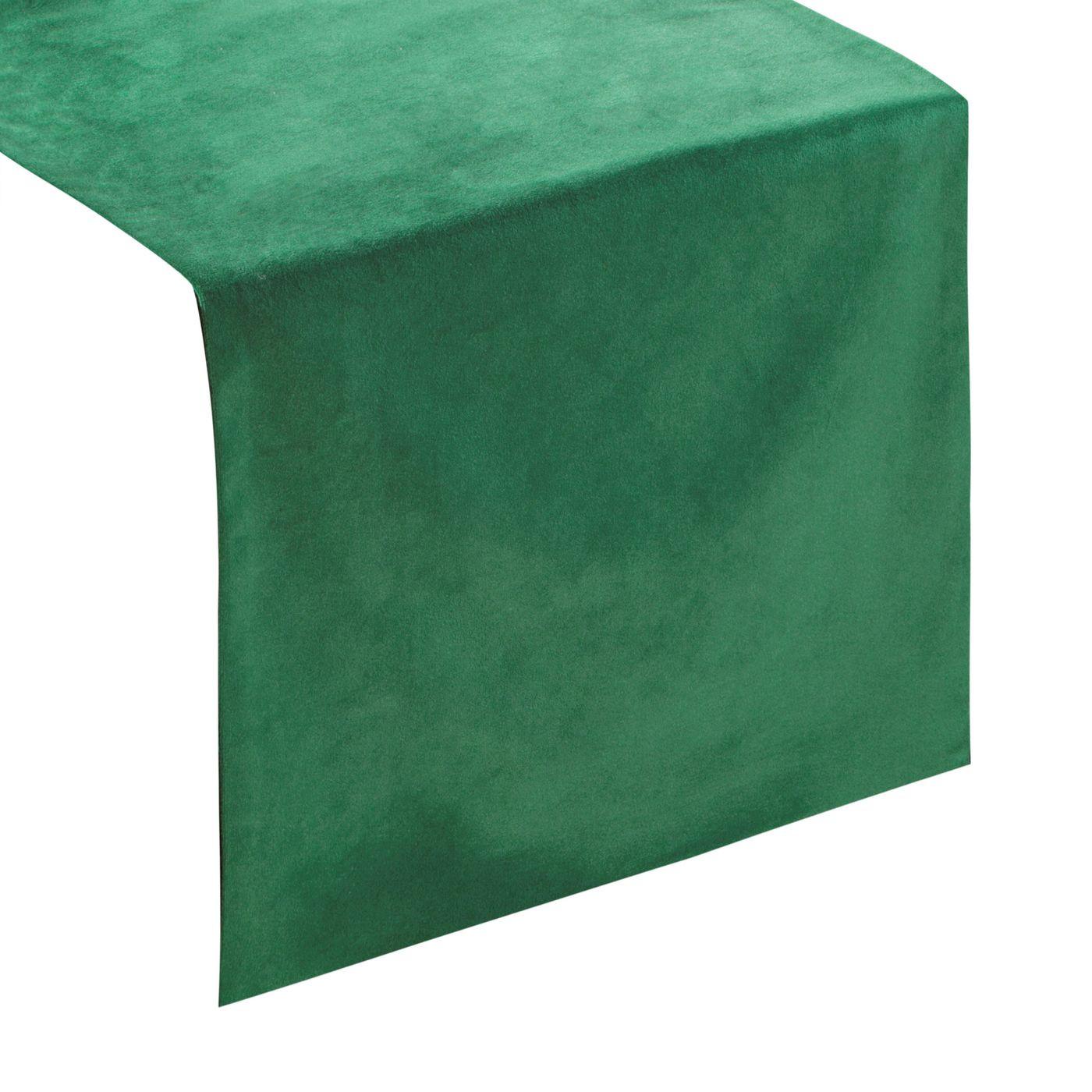 Ciemny zielony bieżnik z welwetu do jadalni 35x140 cm