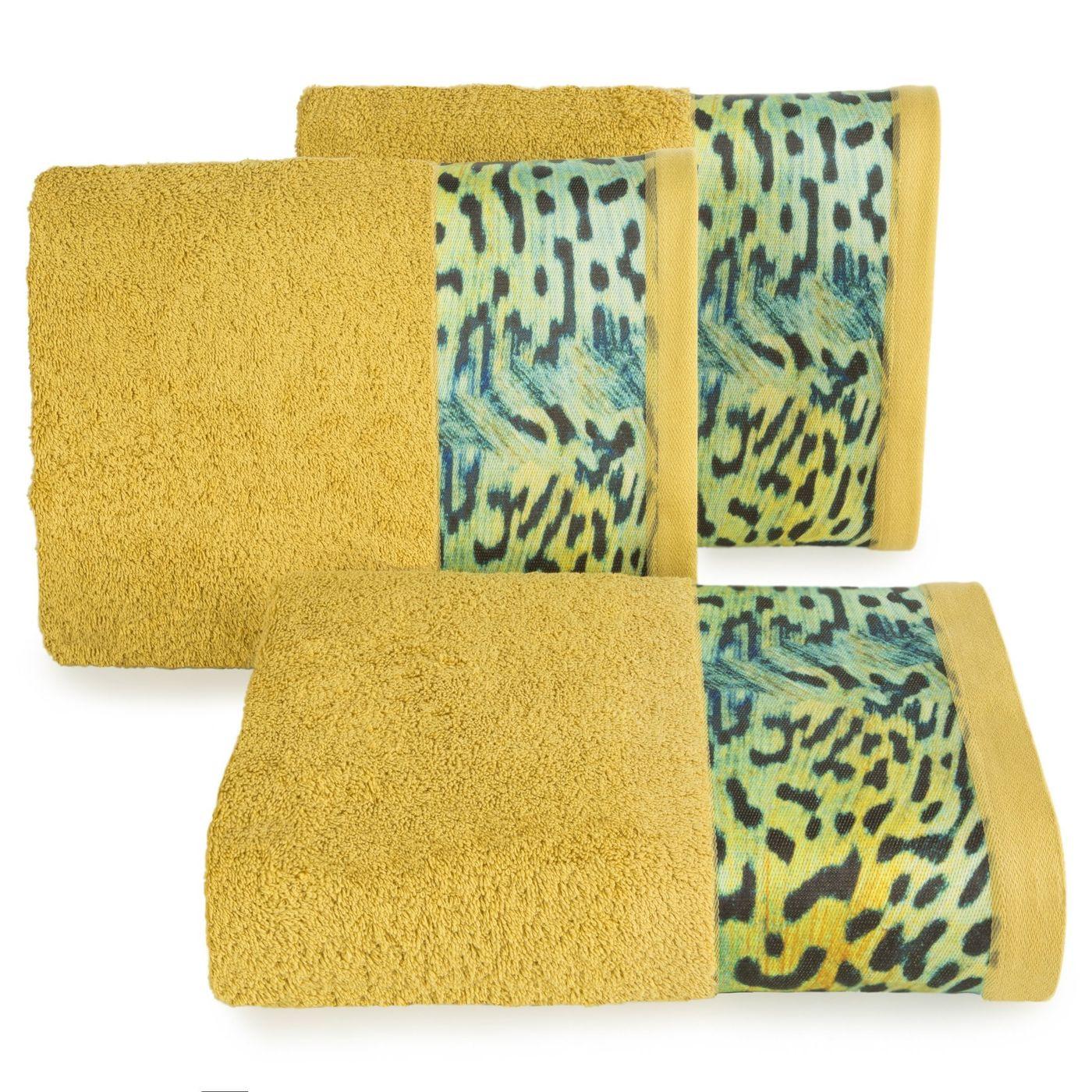 Ręcznik kąpielowy - mój wybór Eva Minge - musztardowy i zwierzęcy wzór 50x90 cm