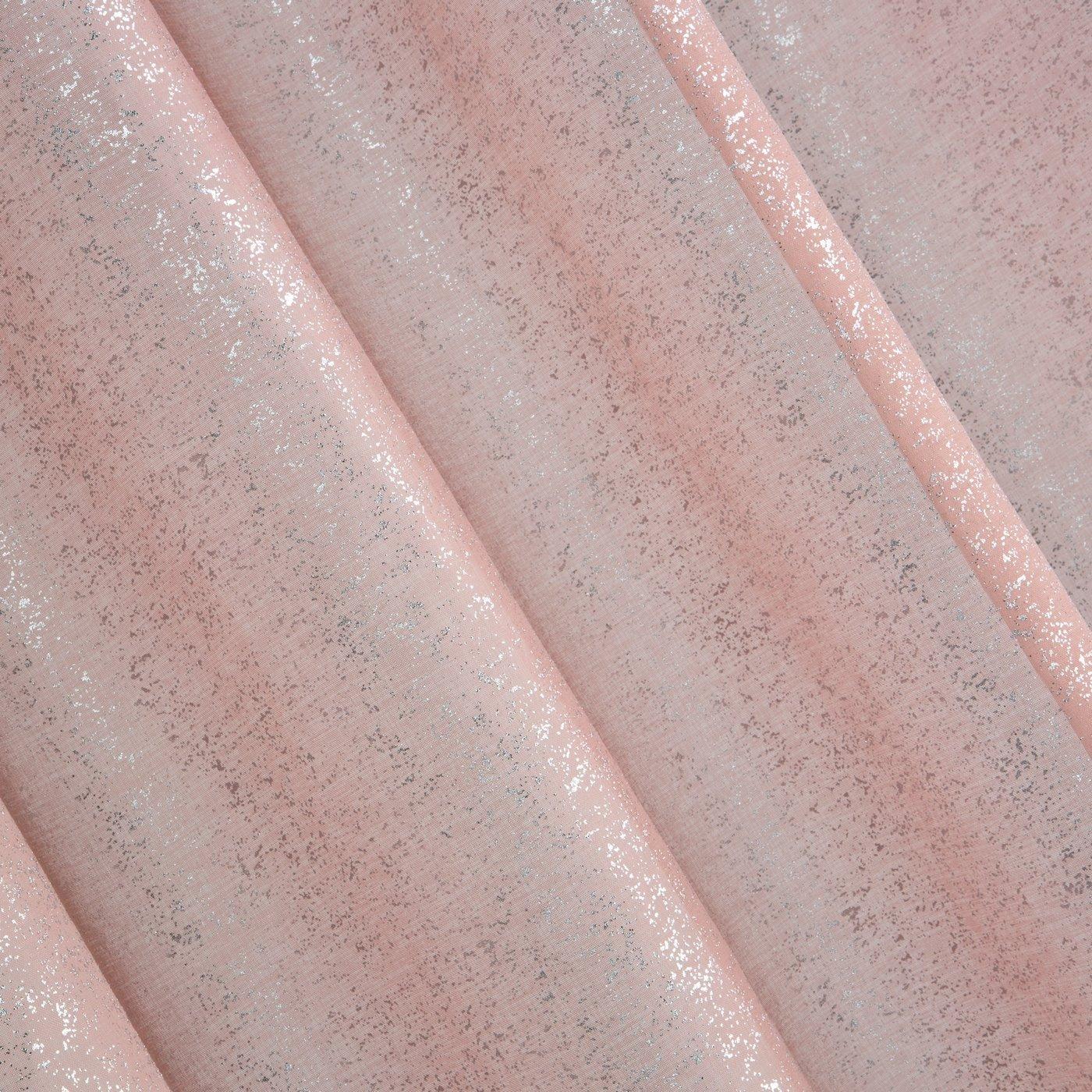Nowoczesna różowa firana ze srebrnym nadrukiem na przelotkach 140x250 cm