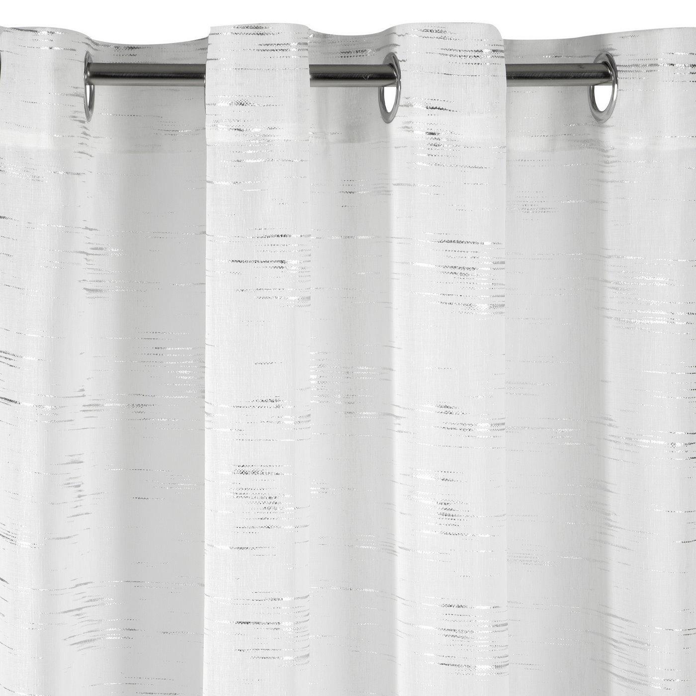 Zasłona LIN ze biała ze srebrnym nadrukiem 140x250cm na przelotkach