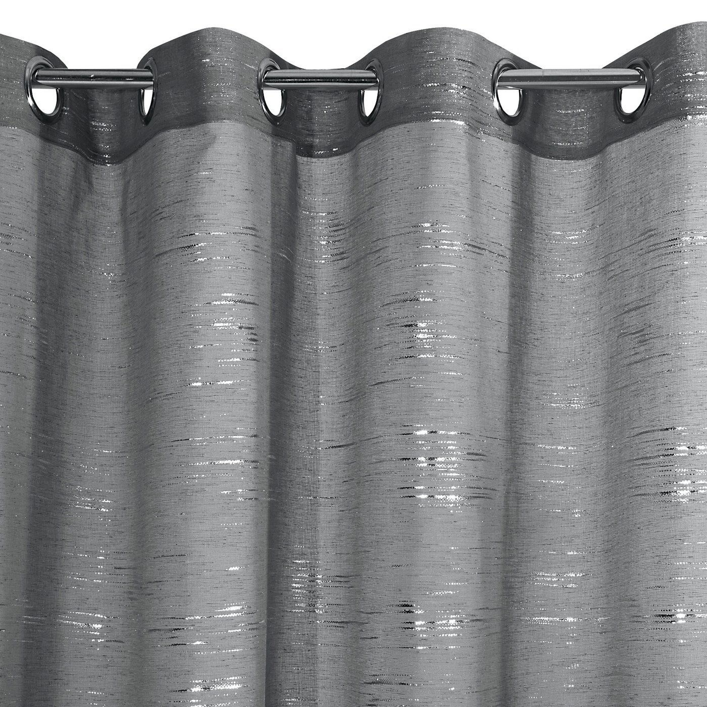 Zasłona LIN stalowa ze srebrym nadrukiem 140x250cm na przelotkach