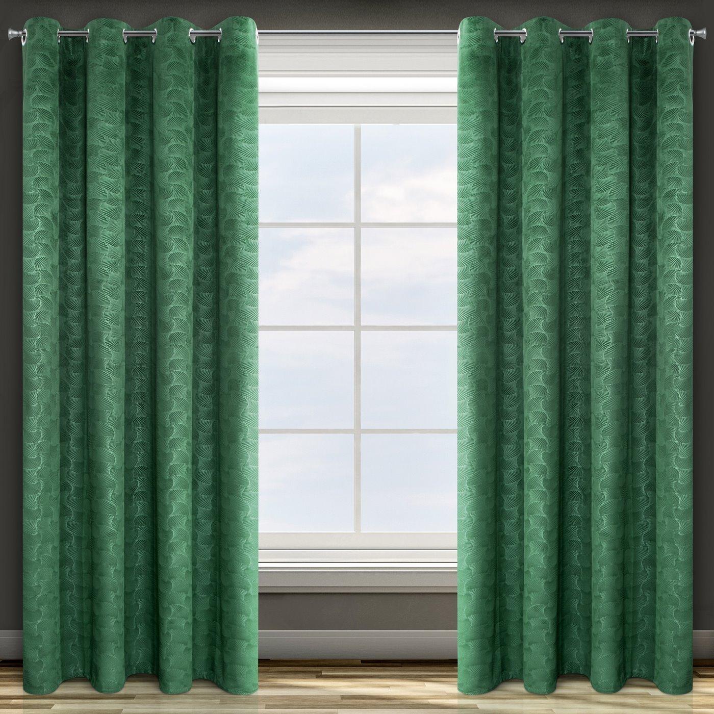 Zielona ZASŁONA WELWETOWA wytłaczana na przelotkach ELLEN 140x250 cm Design91