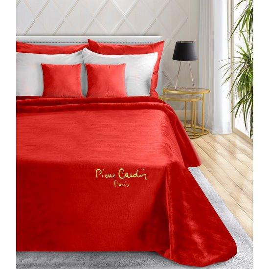 Karminowy EKSKLUZYWNY KOC Clara od PIERRE CARDIN 220x240 cm z akrylem - 220 X 240 cm - czerwony