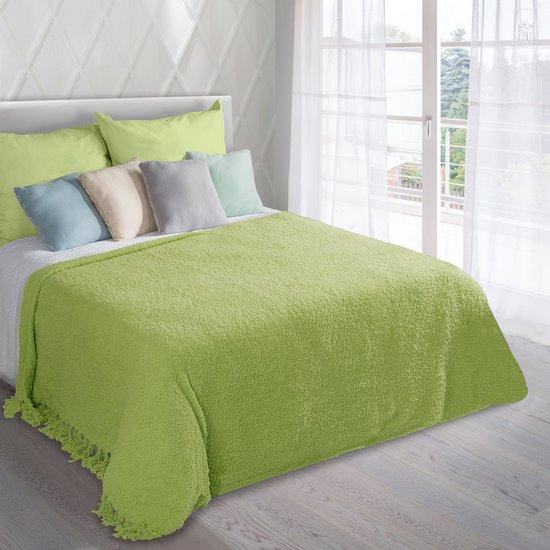 Koc miękki pled z frędzlami jednokolorowy zielony 170x210cm - 170x210 - zielony