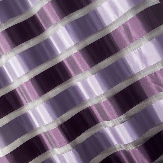 Zasłona poziome atłasowe pasy+organza odcienie fioletu przelotki 140x250cm - 140x250