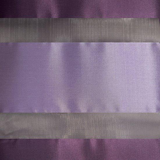Zasłona poziome atłasowe pasy+organza odcienie fioletu przelotki 140x250cm - 140x250 - fioletowy