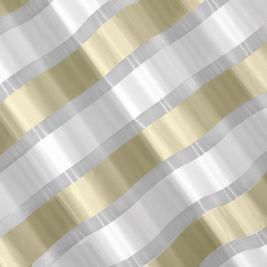 Zasłona poziome atłasowe pasy+organza kremowy+biały przelotki 140x250cm - 140x250 - żółty