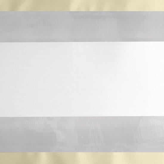 Zasłona poziome atłasowe pasy+organza kremowy+biały przelotki 140x250cm - 140x250