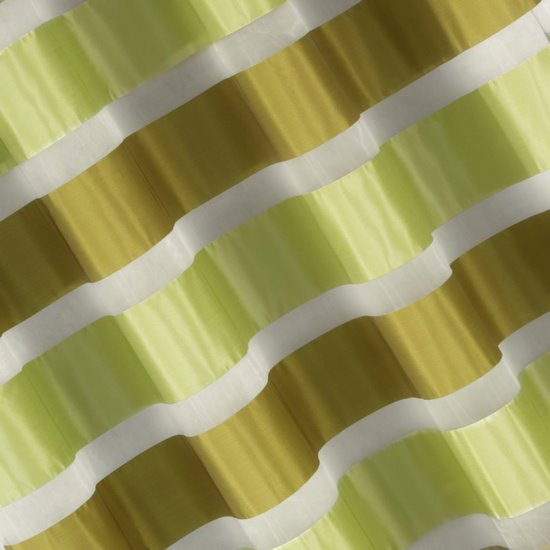 Zasłona poziome atłasowe pasy+organza odcienie zieleni przelotki 140x250cm - 140x250