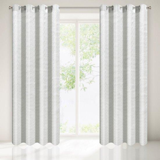 Zasłona z tkaniny o lekko pomarszczonej fakturze bez prasowania biała przelotki 140x250cm - 140 X 250 cm - biały