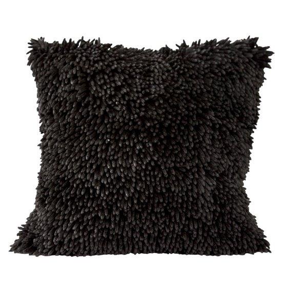 Czarna POSZEWKA OZDOBNA shaggy 40x40 cm - 40 X 40 cm