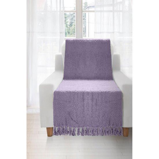 Koc miękki pled z frędzlami na fotel jednokolorowy fioletowy 70x150cm - 70 X 150 cm