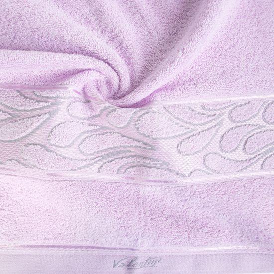 Ręcznik ozdobna bordiura wrzosowy 70x140cm - 70 X 140 cm - liliowy