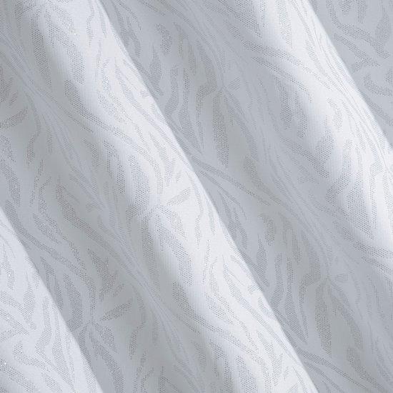 Zasłona biała z brokatowym wzorem 140x250 cm przelotki - 140 X 250 cm