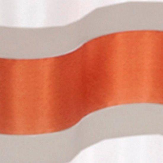 Zasłona Poziome Atłasowe Pasy Organza Kremowy Cegalsty Przelotki 140X250Cm - 140x250