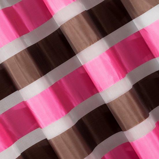 Zasłona poziome atłasowe pasy+organza różowy+brązowy przelotki 140x250cm - 140x250