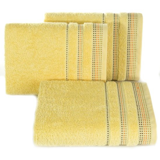 Ręcznik z bawełny z ozdobnym stebnowaniem 70x140cm - 70 X 140 cm - żółty