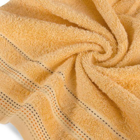 Ręcznik z bawełny z ozdobnym stebnowaniem 70x140cm - 70 X 140 cm - pomarańczowy