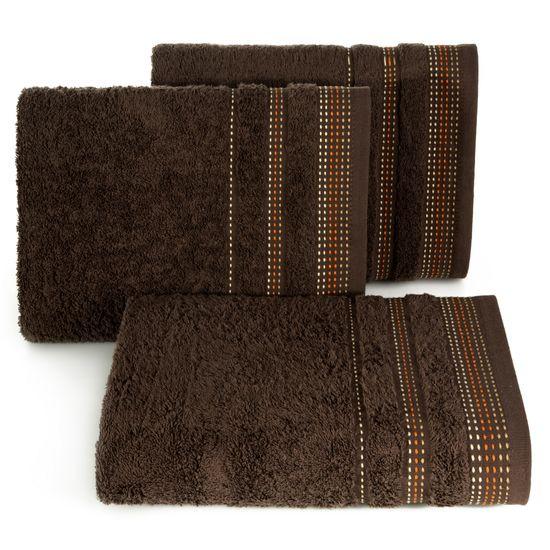 Ręcznik z bawełny z ozdobnym stebnowaniem 30x50cm - 30 X 50 cm - brązowy