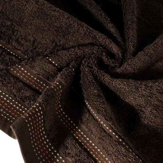 Ręcznik z bawełny z ozdobnym stebnowaniem 50x90cm - 50 X 90 cm - brązowy