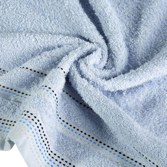 Ręcznik z bawełny z ozdobnym stebnowaniem 70x140cm - 70 X 140 cm - niebieski