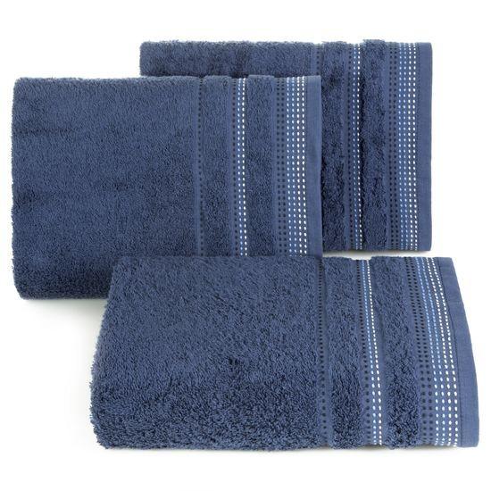 Ręcznik z bawełny z ozdobnym stebnowaniem 70x140cm - 70 X 140 cm - granatowy
