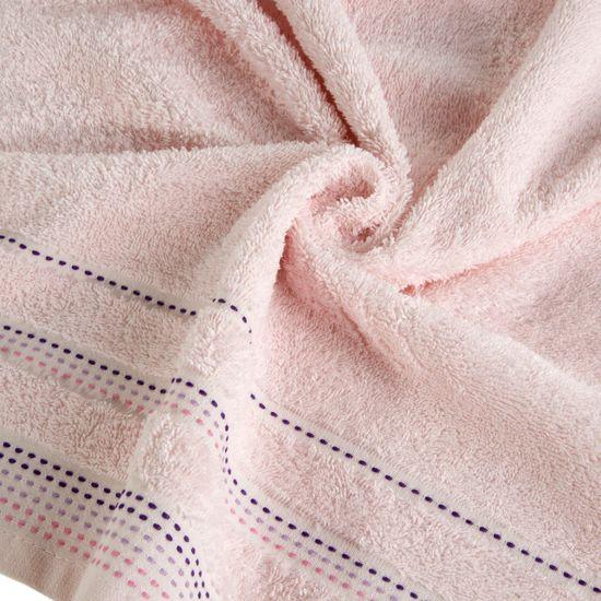 Ręcznik z bawełny z ozdobnym stebnowaniem 50x90cm - 50 X 90 cm - różowy