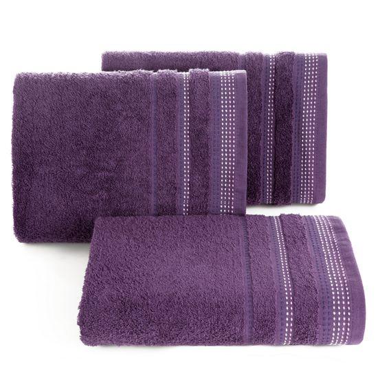 Ręcznik z bawełny z ozdobnym stebnowaniem 70x140cm - 70 X 140 cm - fioletowy