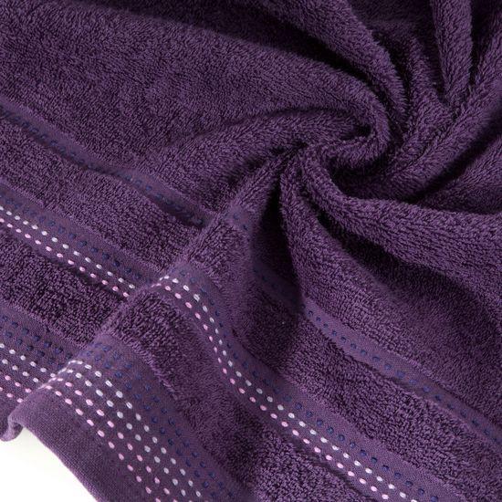 Ręcznik z bawełny z ozdobnym stebnowaniem 70x140cm - 70x140 - śliwkowy