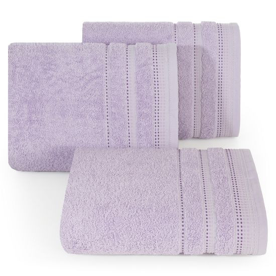 Ręcznik z bawełny z ozdobnym stebnowaniem 50x90cm - 50 X 90 cm - liliowy